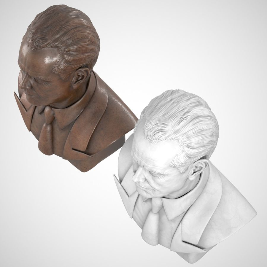 Jack Nicholson Bust royalty-free 3d model - Preview no. 7