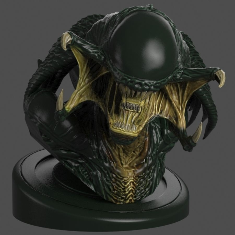Predalien Bust royalty-free 3d model - Preview no. 2