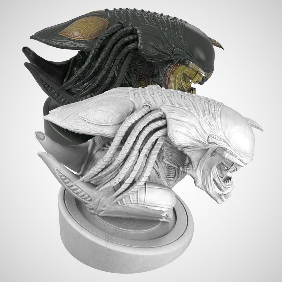 Predalien Bust royalty-free 3d model - Preview no. 5