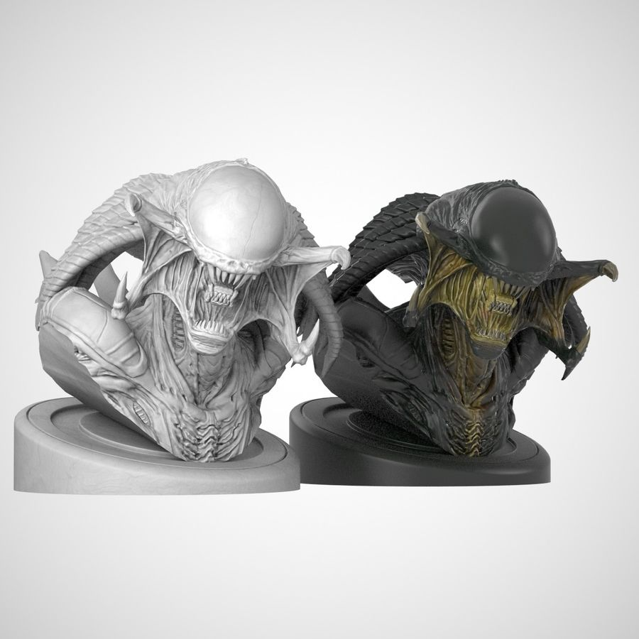Predalien Bust royalty-free 3d model - Preview no. 4