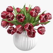 Bouquet De Tulipes Rouges Dans Le Vase 3d model