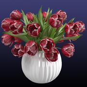 在花瓶的红色郁金香花束 3d model