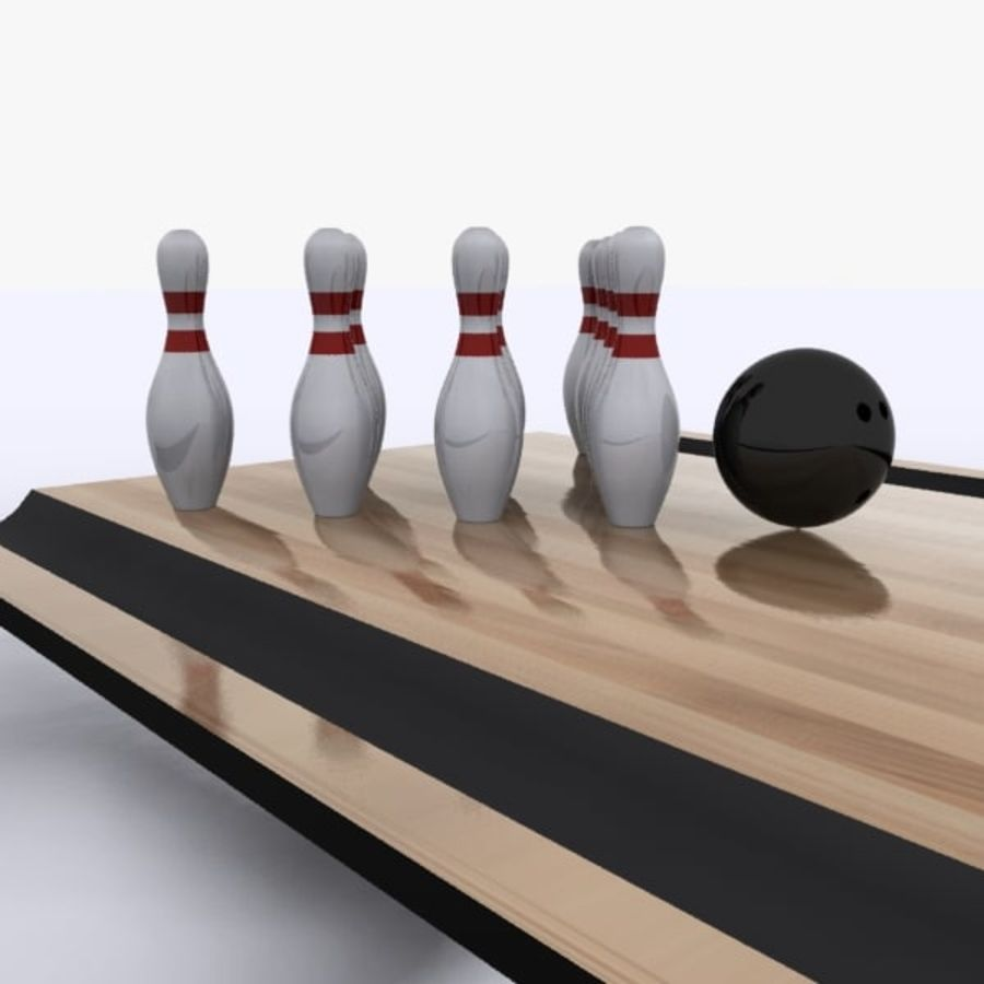 Bowling Ball & Pins royalty-free 3d model - Preview no. 1