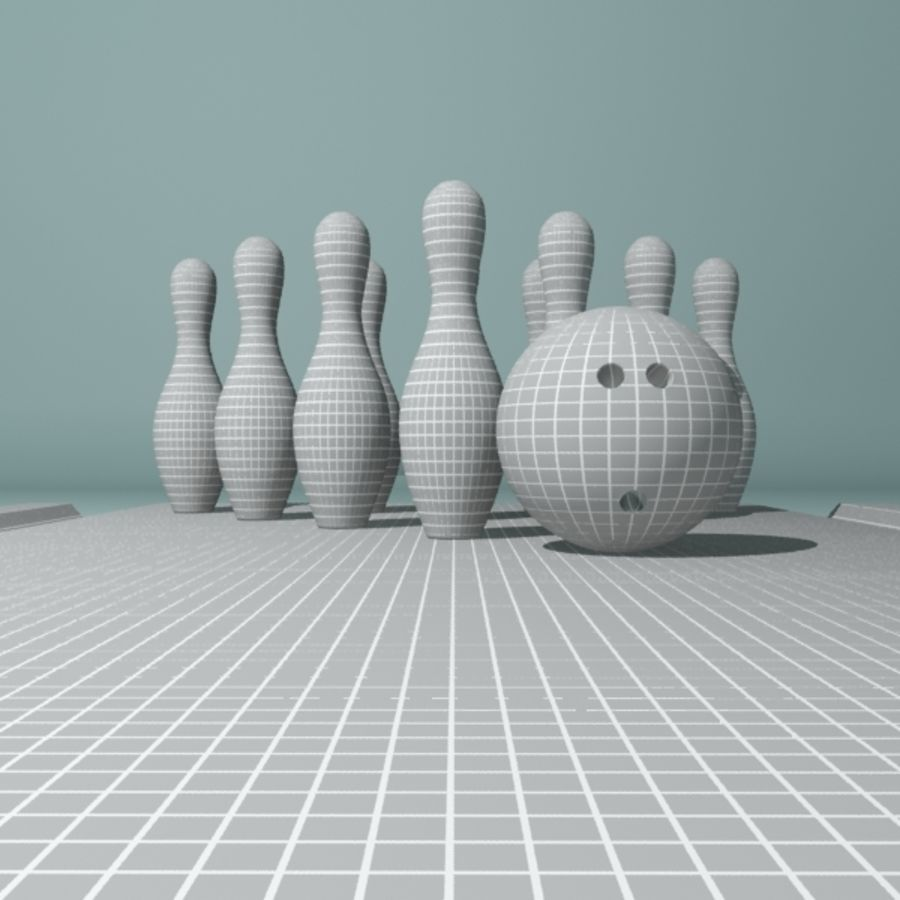 Bowling Ball & Pins royalty-free 3d model - Preview no. 7