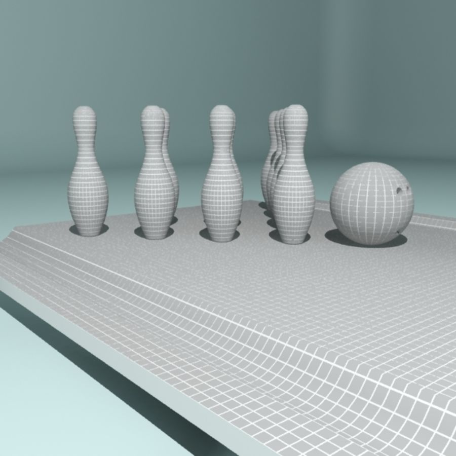 Bowling Ball & Pins royalty-free 3d model - Preview no. 8