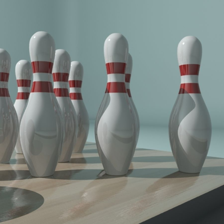 Bowling Ball & Pins royalty-free 3d model - Preview no. 5