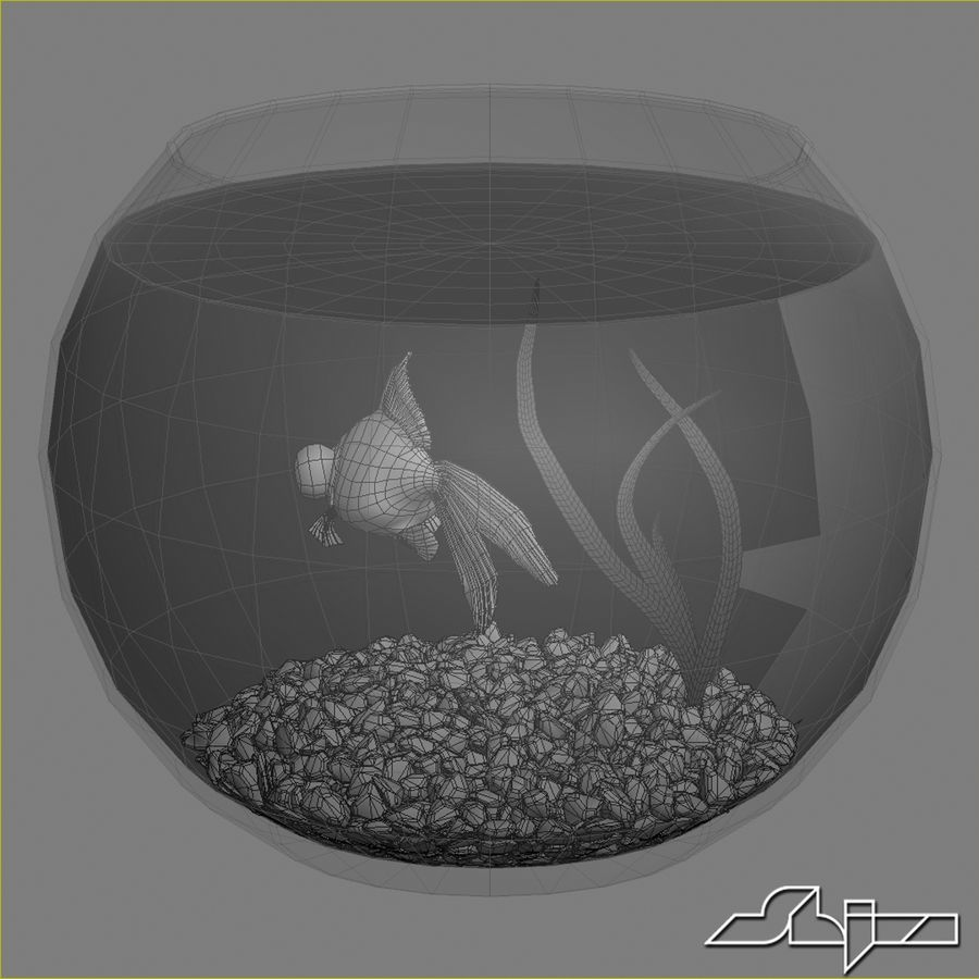 Aquarium with gold fish royalty-free 3d model - Preview no. 5