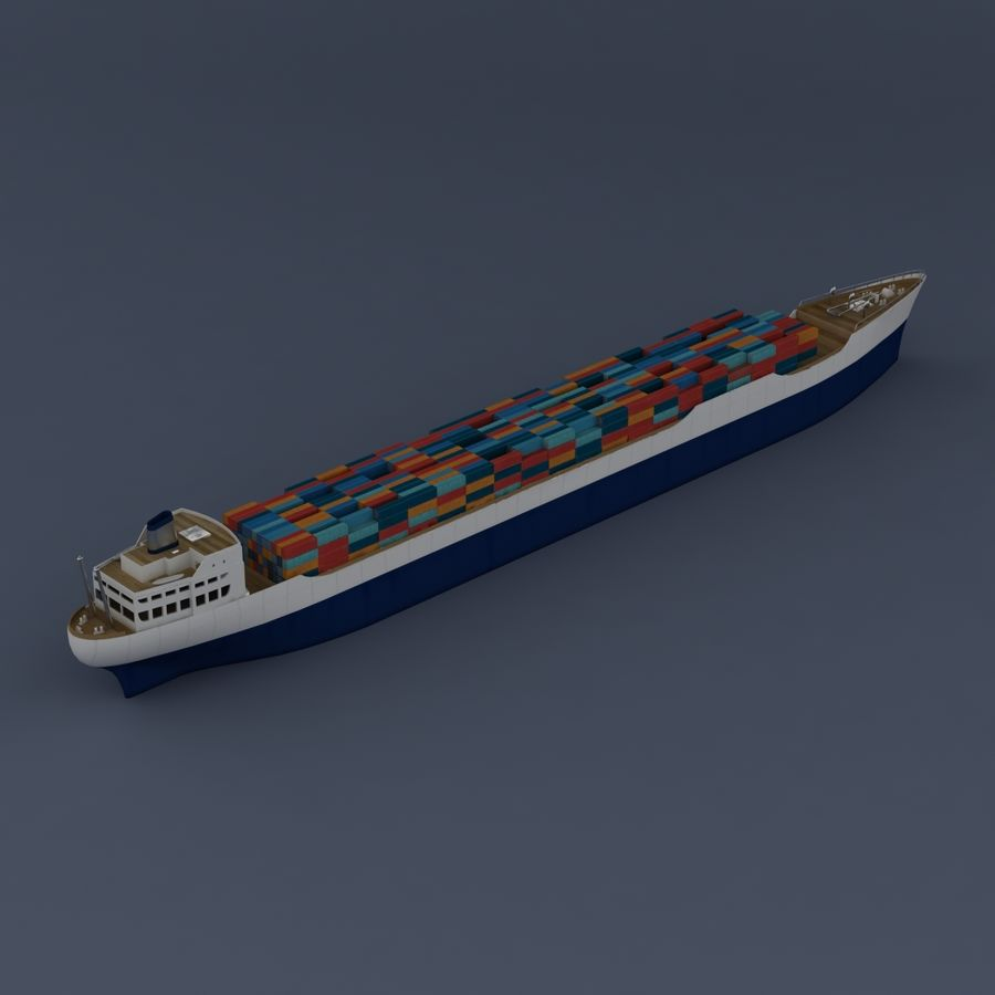 (Cargo) Container ship royalty-free 3d model - Preview no. 2