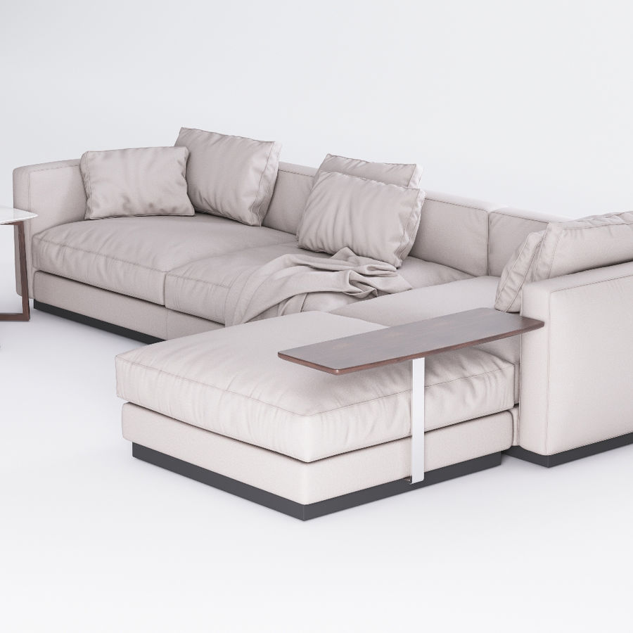 Flexform Pleasure Sofa royalty-free 3d model - Preview no. 2