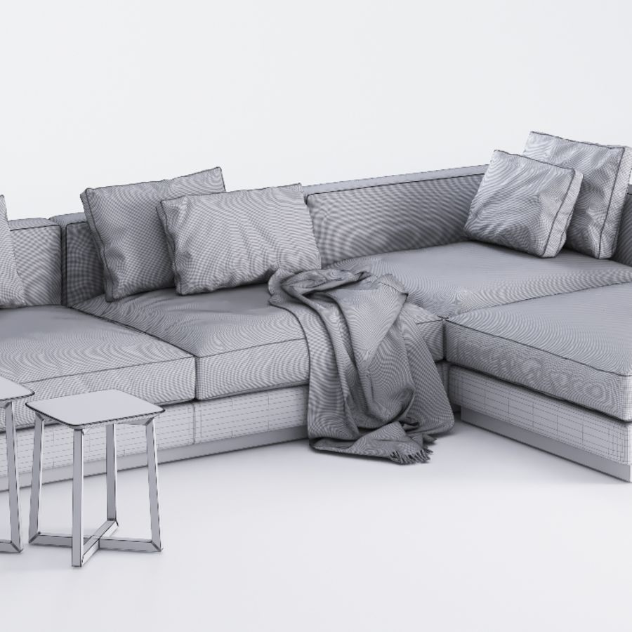 Flexform Pleasure Sofa royalty-free 3d model - Preview no. 7