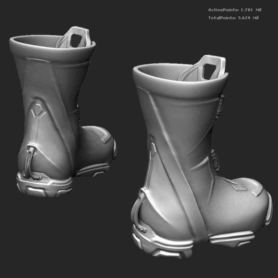 Zbrush Boots scifi pilot royalty-free 3d model - Preview no. 2