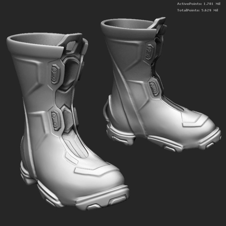 Zbrush Boots scifi pilot royalty-free 3d model - Preview no. 1