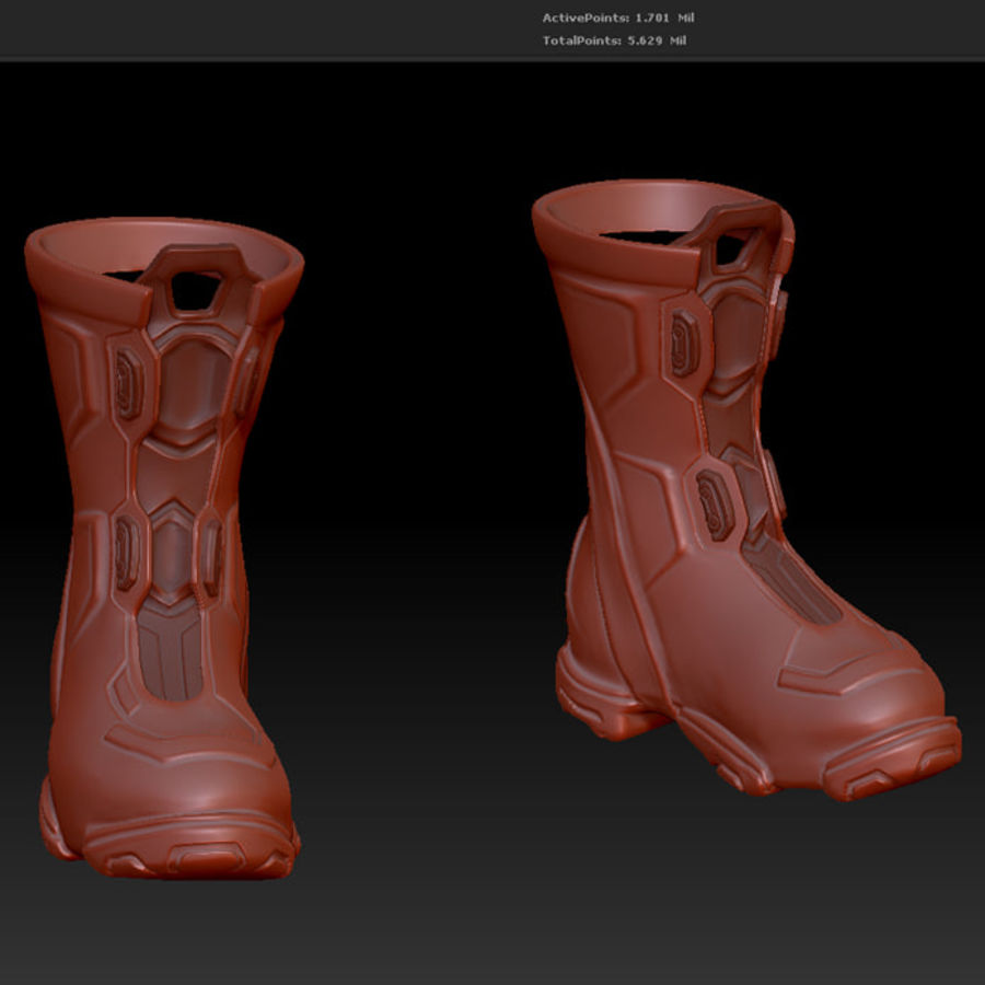 Zbrush Boots scifi pilot royalty-free 3d model - Preview no. 3