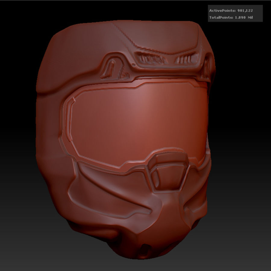 Zbrush Helmet sci-fi royalty-free 3d model - Preview no. 2