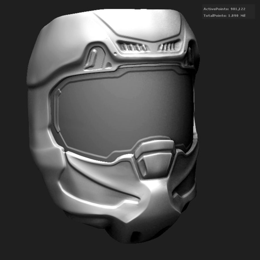 Zbrush Helmet sci-fi royalty-free 3d model - Preview no. 1