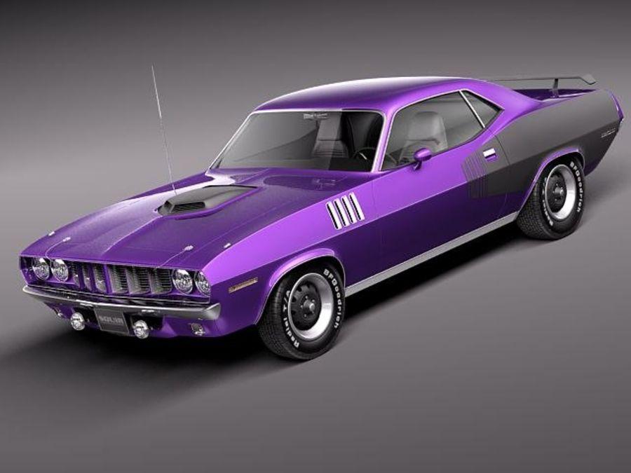 플리머스 헤미 쿠다 - 바라쿠다 1971 royalty-free 3d model - Preview no. 1