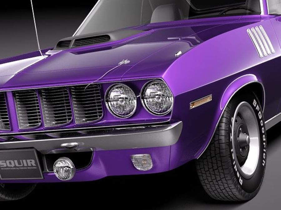플리머스 헤미 쿠다 - 바라쿠다 1971 royalty-free 3d model - Preview no. 3