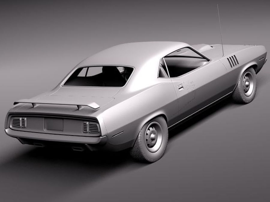 플리머스 헤미 쿠다 - 바라쿠다 1971 royalty-free 3d model - Preview no. 11