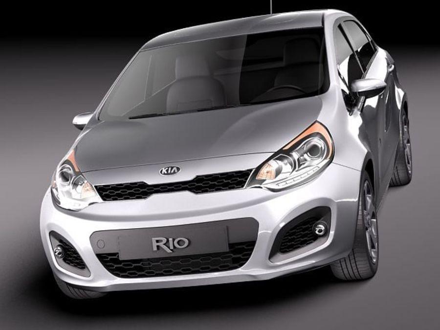 Kia Rio 2012 5 drzwi royalty-free 3d model - Preview no. 2