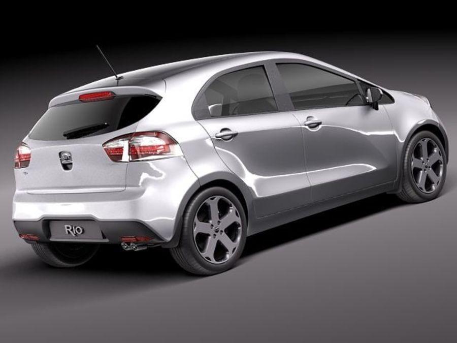 Kia Rio 2012 5 drzwi royalty-free 3d model - Preview no. 5