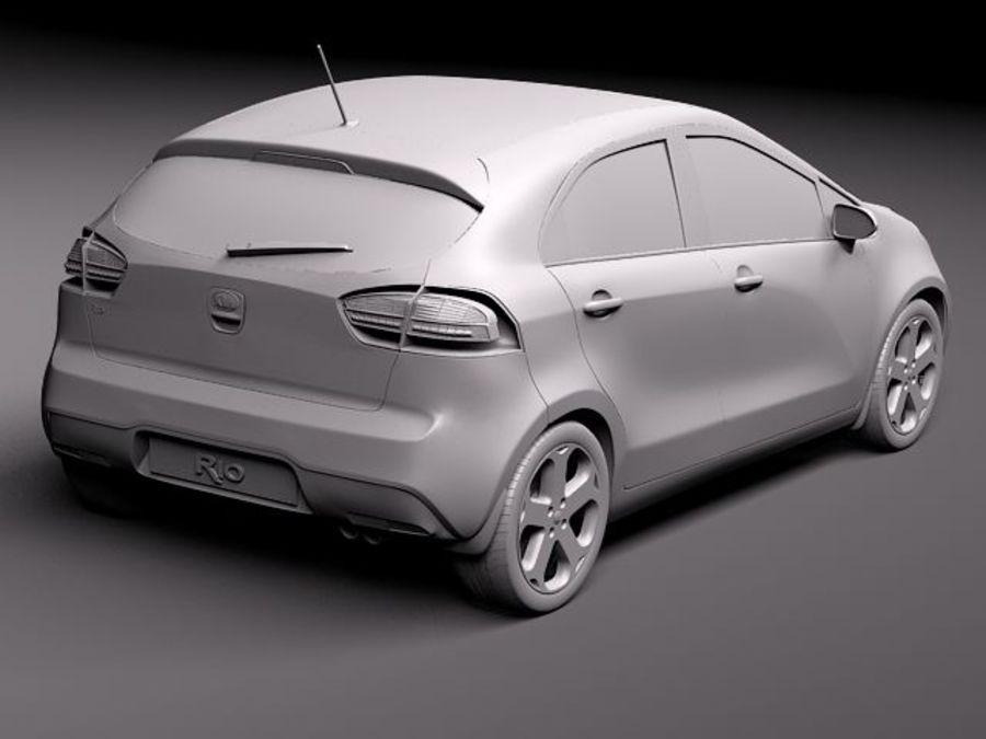 Kia Rio 2012 5door royalty-free 3d model - Preview no. 9