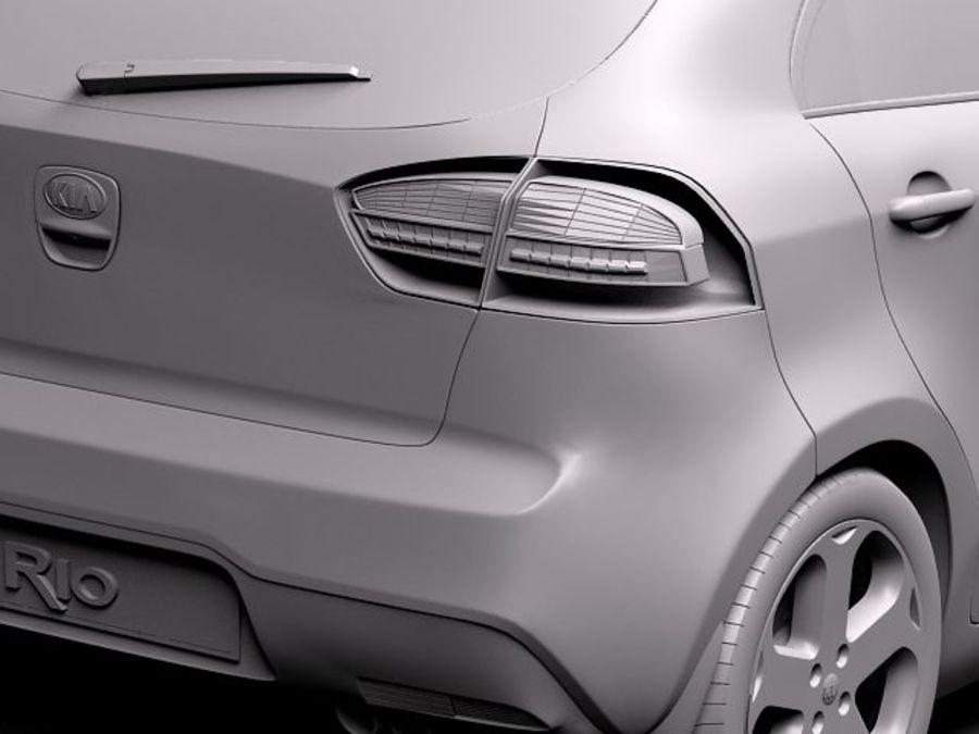 Kia Rio 2012 5door royalty-free 3d model - Preview no. 10