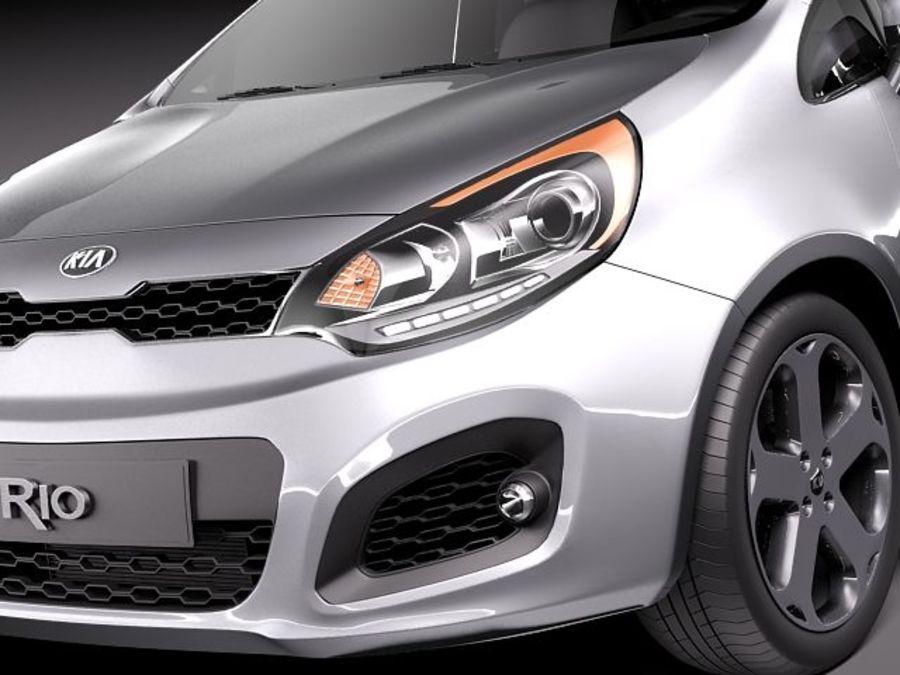 Kia Rio 2012 5door royalty-free 3d model - Preview no. 3