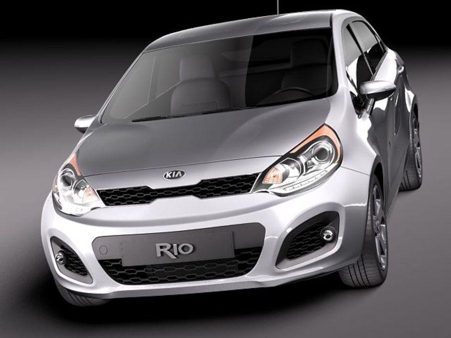 Kia Rio 2012 5door royalty-free 3d model - Preview no. 2