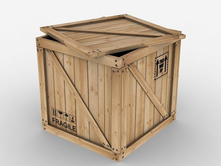 Wooden Crate - box container royalty-free 3d model - Preview no. 3