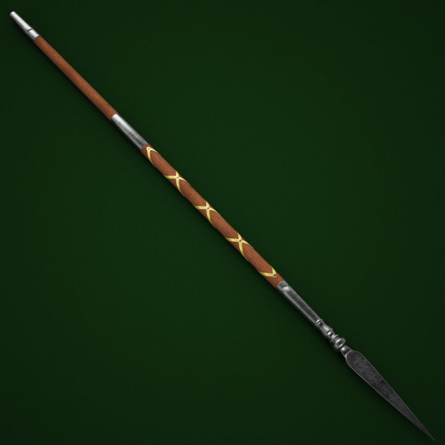 Medieval Spear V1 royalty-free 3d model - Preview no. 3