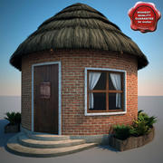 Thatch Roofed House 3d model