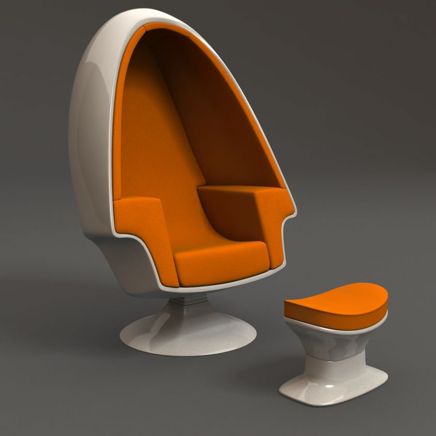 Egg Chair royalty-free 3d model - Preview no. 2