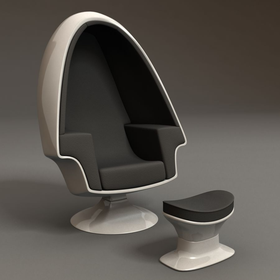 Egg Chair royalty-free 3d model - Preview no. 3