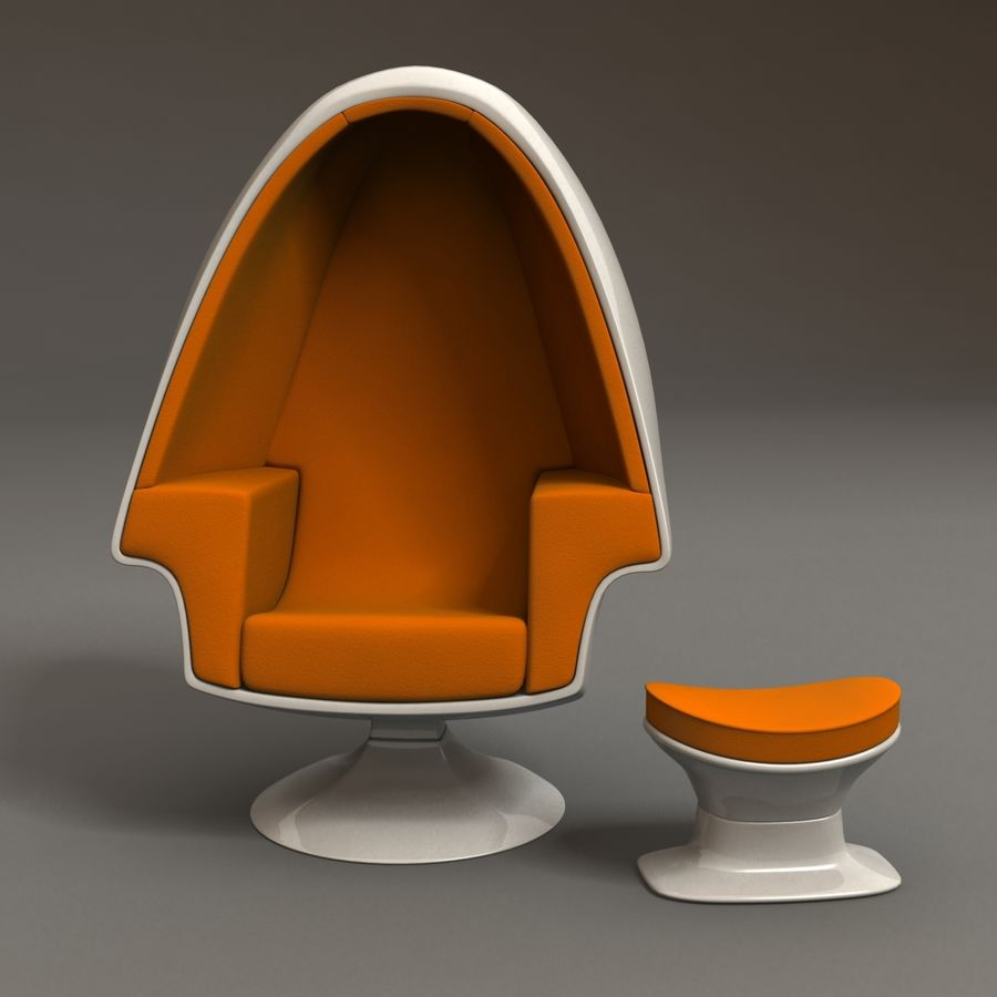 Egg Chair royalty-free 3d model - Preview no. 4