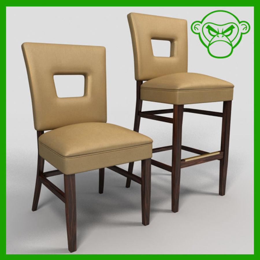 Jadalnia Krzesło I Bar Stołek royalty-free 3d model - Preview no. 3