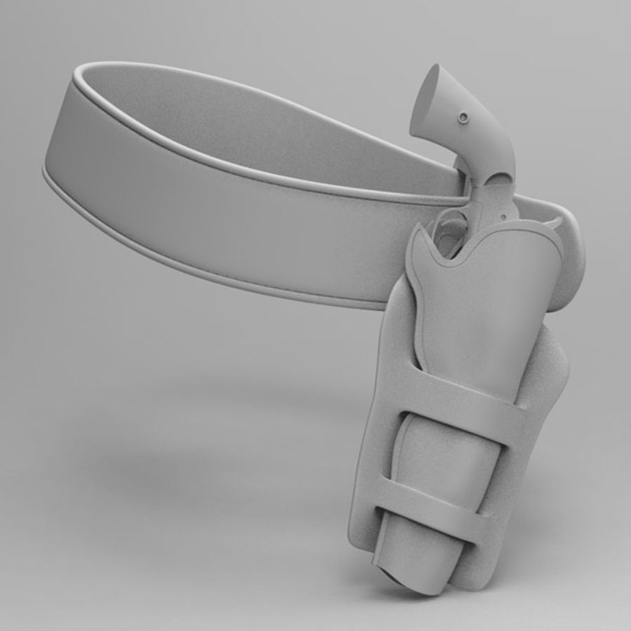 CowBoy Pistol with Case and Belt royalty-free 3d model - Preview no. 2