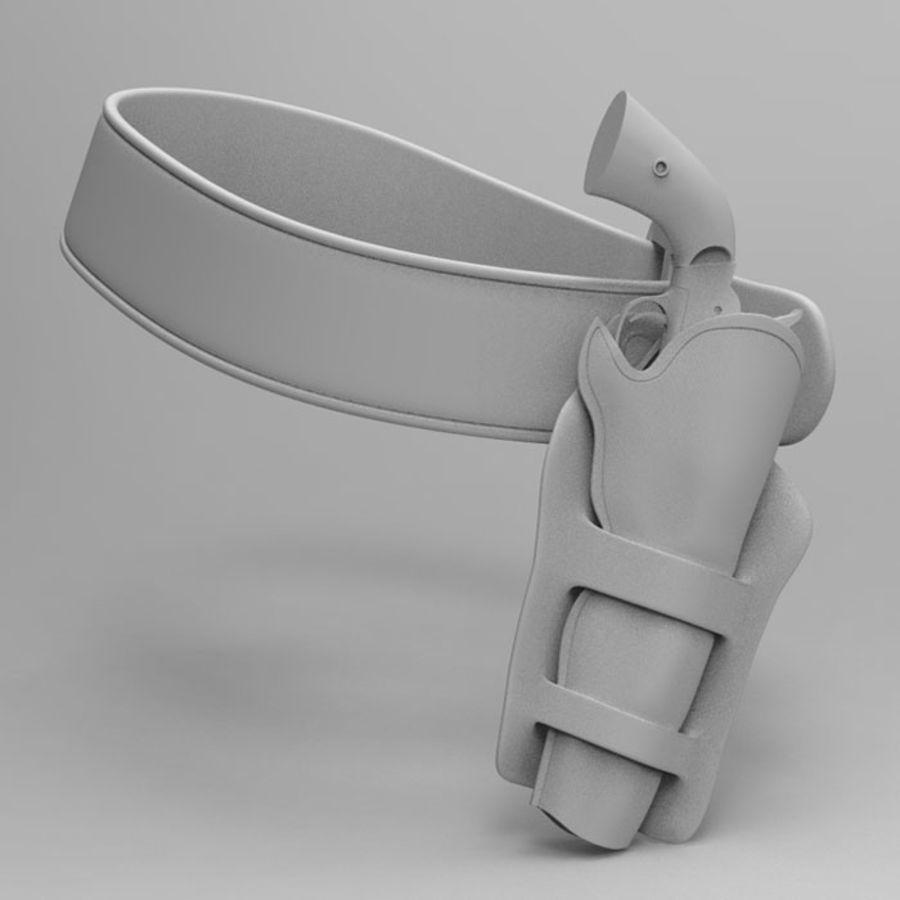 Pistolet CowBoy z futerałem i pasem royalty-free 3d model - Preview no. 2