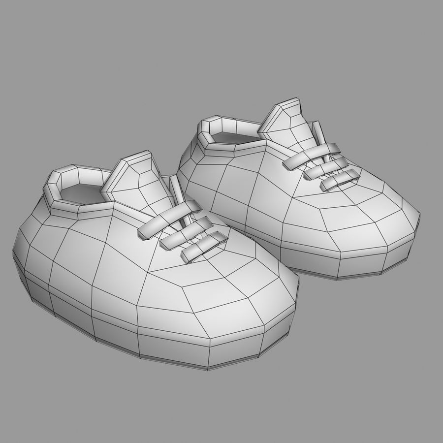 Cartoon Shoes 02(5テクスチャバリエーション) royalty-free 3d model - Preview no. 9
