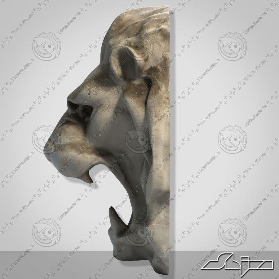 Lion Head Sculpture royalty-free 3d model - Preview no. 5