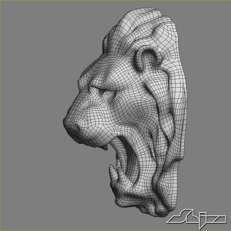 Lion Head Sculpture royalty-free 3d model - Preview no. 7