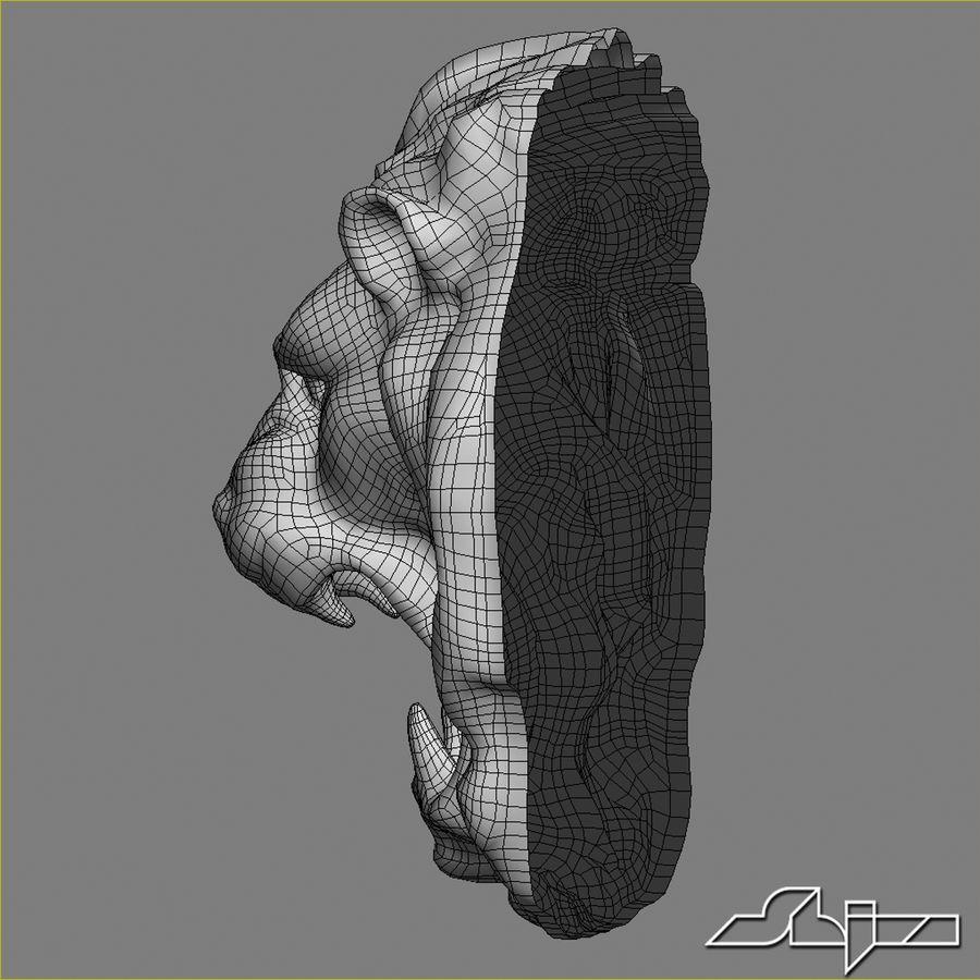 Lion Head Sculpture royalty-free 3d model - Preview no. 8