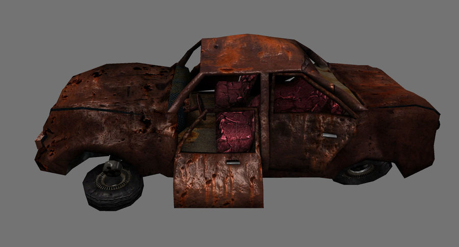 wrecked car 1 royalty-free 3d model - Preview no. 3