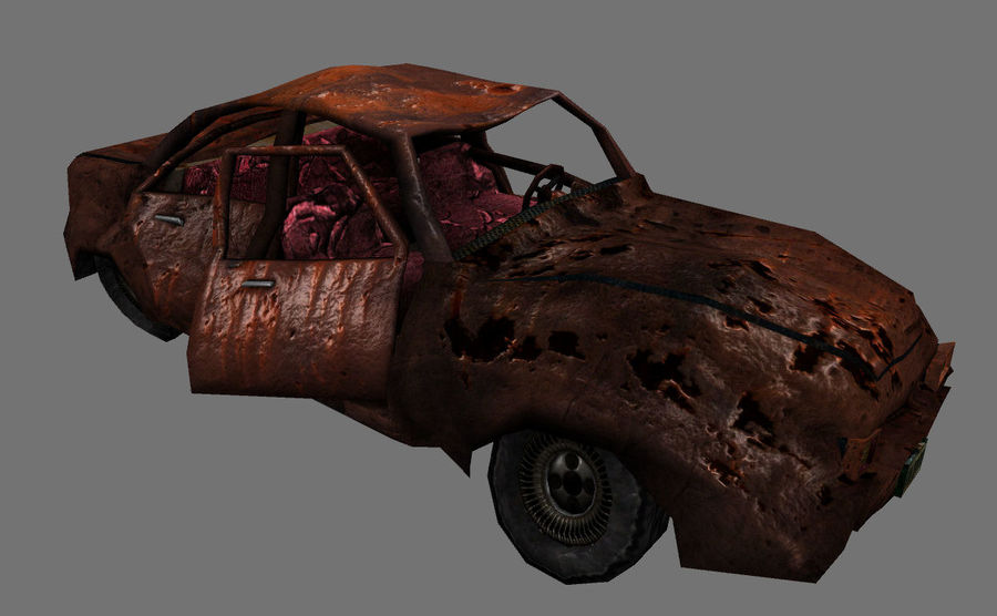 wrecked car 1 royalty-free 3d model - Preview no. 1