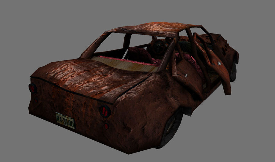 wrecked car 1 royalty-free 3d model - Preview no. 4
