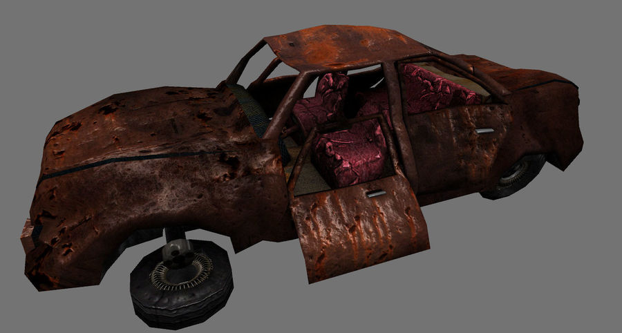 wrecked car 1 royalty-free 3d model - Preview no. 2