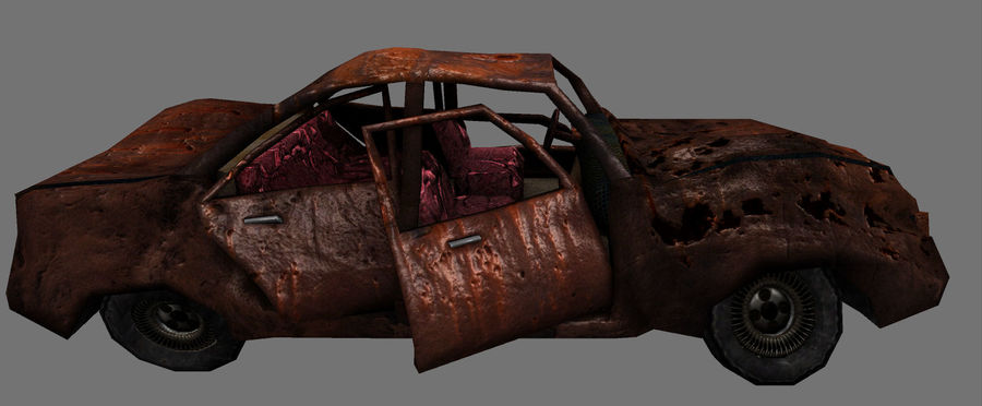 wrecked car 1 royalty-free 3d model - Preview no. 5