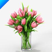 Pink Tulips in vase 3d model