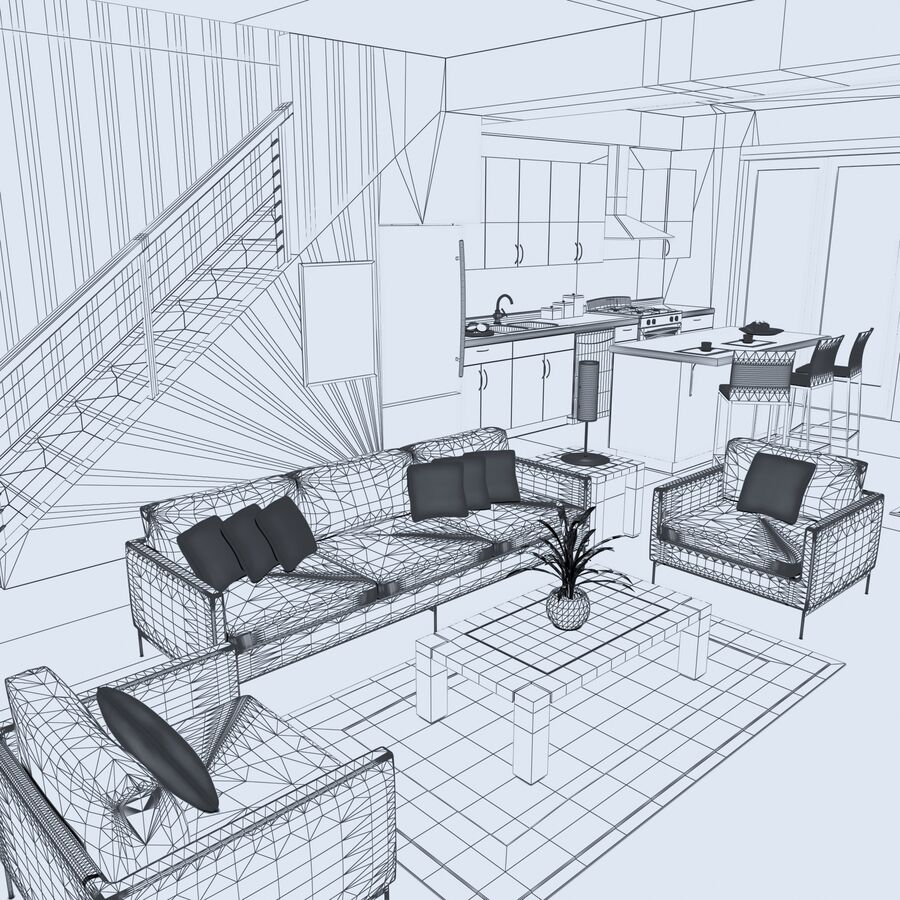High def Modern Classic living Room royalty-free 3d model - Preview no. 13