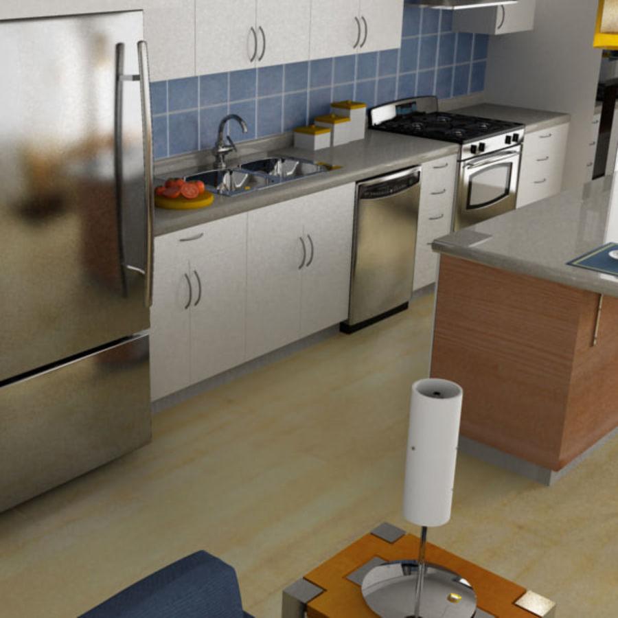 Alta definição Modern Classic Living Room royalty-free 3d model - Preview no. 2