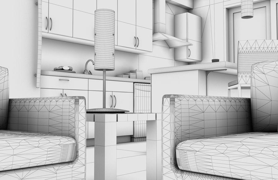 Alta definição Modern Classic Living Room royalty-free 3d model - Preview no. 9